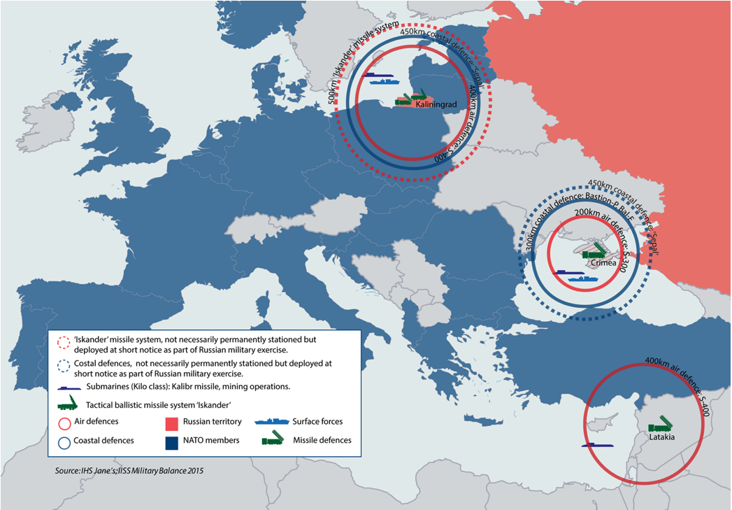 Figure 2 A partial depiction of Russian A2AD capabilities along the NATO's eastern and southern borders