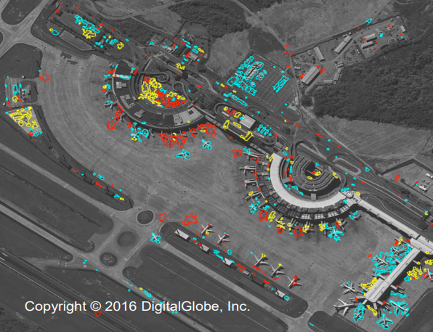 Figure 4: A raster image of EOCD software highlight the changes at the Rio de Janerio Airport. Vehicles and aircraft arrivals (blue) and departures (red) can be easily identified. (Courtesy of Observera)